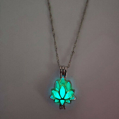 Luminous Glow In The Dark lotus Flower Shaped Pendant Necklace Gift Women DB