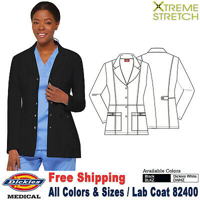 4e7297bffb3 Dickies Scrubs XTREME STRETCH Women's Fashion Snap Front 28 Inch Lab  Coat_82400
