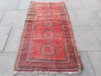 Shabby Chic Old Hand Made Traditional Afghan Wool Red Brown Rug 190x107cm