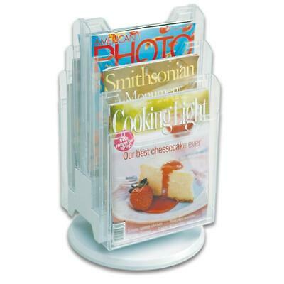 Ultimate Office 6-Pocket Revolving Countertop Literature Display, Clear