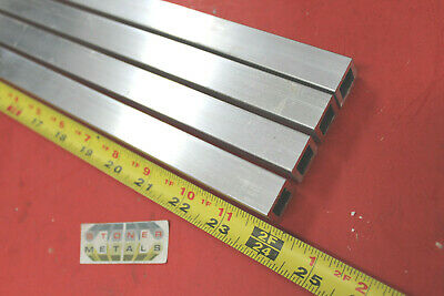 """4 Pieces 3/4""""x 3/4""""x 1/8"""" Wall x 24"""" Long ALUMINUM SQUARE TUBE 6063 T52 .5"""" ID"""