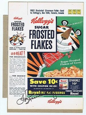 1956 Kelloggs Tony Tiger Frosted Flakes Cereal Box flat signed by Thurl