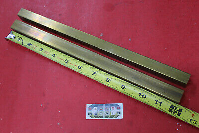"2 Pieces 5/8"" x 3/4"" C360 BRASS FLAT BAR 12"" long Solid Mill Stock H02 .625x .75"