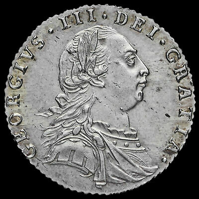 1787 George III Early Milled Silver Sixpence, No Hearts, EF