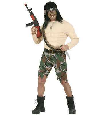 Supermuscle Soldier Fancy Dress Costume Rambo Army Military Outfit S Mens Adult