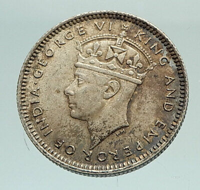 1941 MALAYA UK King GEORGE VI Crown Antique Genuine Silver 10 Cents Coin i76986