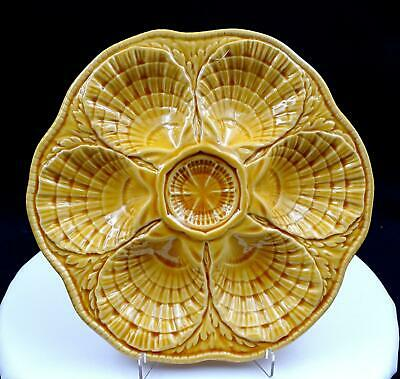 """SARREGUEMINES FRENCH MAJOLICA SHELL & SEAWEED 6 WELL 10 1/4"""" OYSTER PLATE 1950s"""