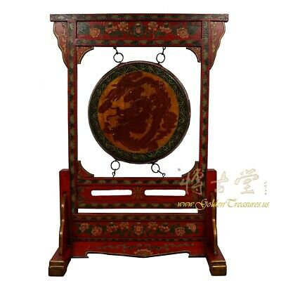 Antique Tibetan Dragon and Phoenix Drum with Stand