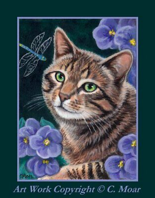 Tabby Tiger Cat Purple Flower Dragonfly ACEO Limited Edition Art Print 2/25
