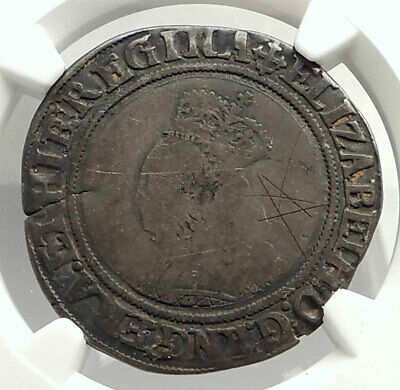 1560 ENGLAND Great Britain UK Queen ELIZABETH I Silver Shilling Coin NGC i76575
