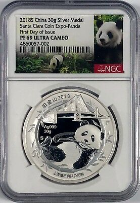 2018 S Ngc Pf69 Ucam First Day Issue Silver China Panda Santa Clara Coin Expo