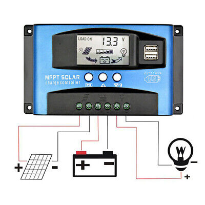 MPPT SolarPanel Regulator Battery Solar Charger Controller 12/24V With LCD TBBTB