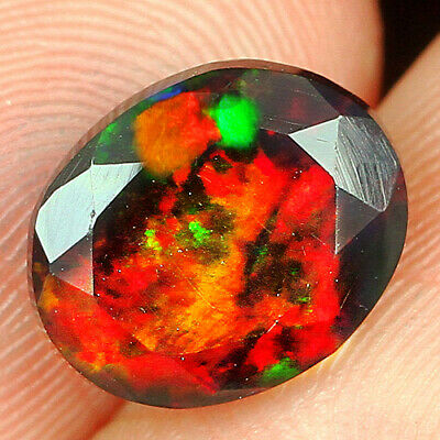 Fine Rings 0.7ct Ethiopian Orange Opal Faceted Cut Play Of Color Mqoc320 Opal