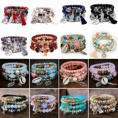 Boho Natural Stone Bead Multilayer Tassel Chain Bangle Charm Women Bracelet Set