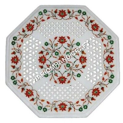 """12"""" Marble White Coffee Table Top Lattice Hand Carved Carnelian Inlay Decor C651"""