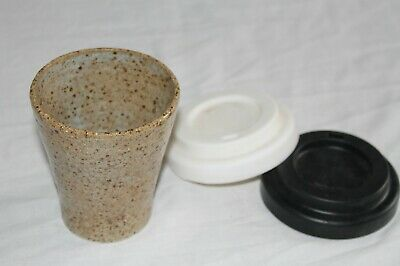 Ceramic Cup, 8oz Cup, Handmade Pottery, With silicone lid, Take away cup