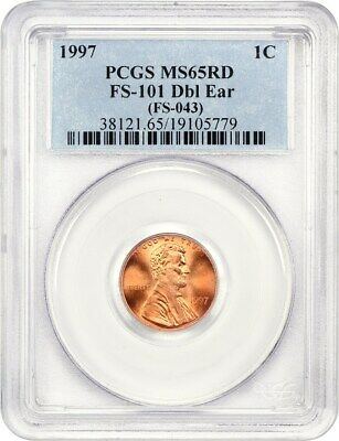1997 1c PCGS MS65 RD (Doubled Ear, FS-101, FS-043) Lincoln Cent