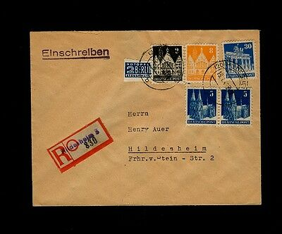 January 20, 1949 HILDESHEIM Germany to H. Auer, NY, USA - NOTOPFER BERLIN IMPERF