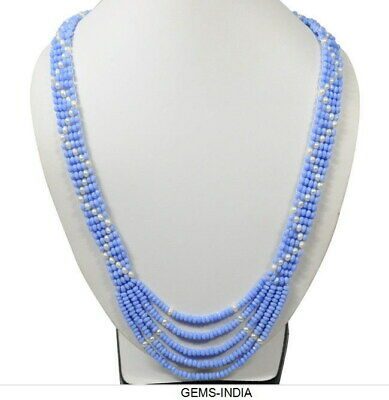 240 Ct+ Natural Blue Chalcedony & Pearl Rondelle beaded Unique Handmade Necklace