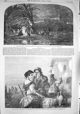 Original Old Antique Print 1857 Scene Gipsies Camp Fire Water Fountain People
