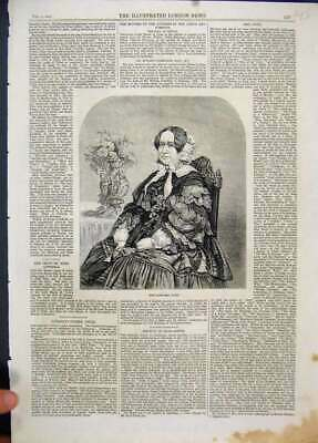 Original Old Antique Print 1861 Mrs Gore Sitting Chair Beautiful 19th