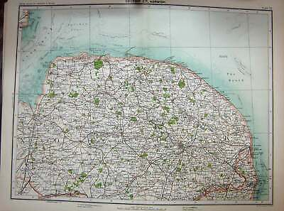 Original Old Antique Print Map 1891 Norwich England Great Yarmouth Lowestoft