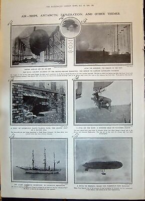 Old 1908 Air-Ships Antarctic Lovelace Charcot Parseval Balloon Cave M 20th