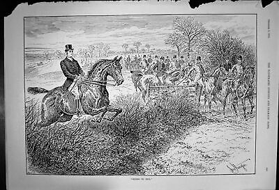 Original Old Antique Print Riding To Sell Large Group Horses Riders 1893 19th