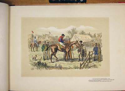 Original Old Antique Print Tumbletown Steeple Chase Hand Colored Drawing Horse