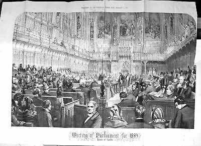Old Antique Print Large Rare 1859 Meeting Parliament House Lords London 19th