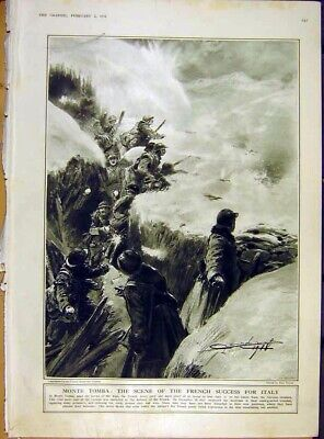 Original Old Vintage Print Monte Tomba French Victory Italy Alps Army Ww1 1918