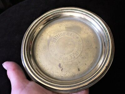 """Vintage Solid Brass Small Pin Tray Engine Turned C Schilling San Francisco 5.5"""""""