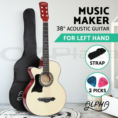 "Alpha 38"" Left Handed Acoustic Guitar Wooden Folk Classical Cutaway Steel String"
