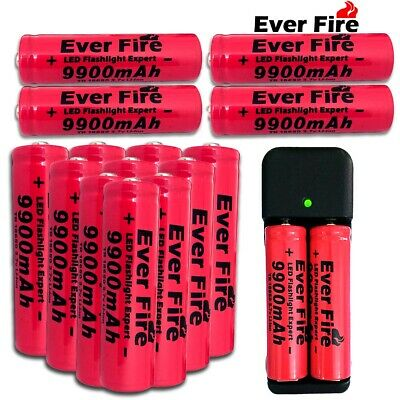 10Pc Li-ion 9900mAh 18650 Battery 3.7V Rechargeable Charger For Flashlight Torch