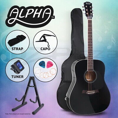 "Alpha 41"" Inch Wooden Acoustic Guitar Classical Folk Full Size w/ Bag Capo Black"