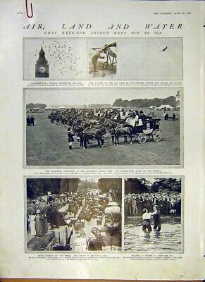 Old Antique Print Air Land Water Fog Flood Fire London Events Disasters