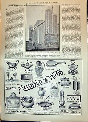 Old Print 1908 Mappin Webb Plan Proposed Garage German Zeppelin Airships 20th