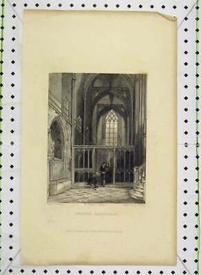 Old Antique Print View Interior Bristol Cathedral 1837 Engraving Winkles 19th