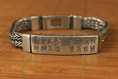 Fine S925 solid Silver Valuable Hand Carved buddha exquisite Bracelet