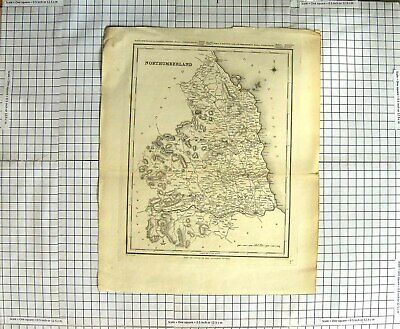 Original Old Antique Print Map Northumberland Walker Creighton Morpeth