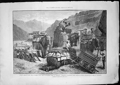 Antique Old Print Conflict England Russia Transport Military Elephants C 1860