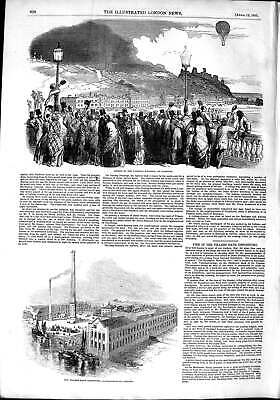 Old Antique Print 1851 Victoria Balloon Hastings Thames Bank Depository 19th