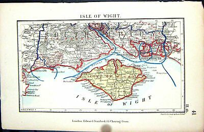 Old Stanford Map 1885 Isle Wight Newport Portsmouth Gosport Bournemou Victorian