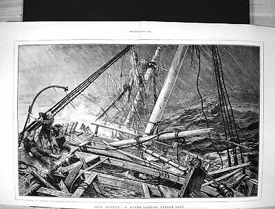 Old 1873 British Seamen Water-Logged Timber Ship Wreck Stormy Sea Fin Victorian