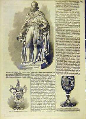 Original Old Antique Print Marble Statue King Consort Silver Vase Ruby Cup 1853