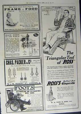 Old Antique Print 1912 Advertisement Ginger Ale Wheel Chair Food Jeweller 20th