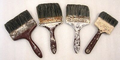Set Of 4 Vintage British Made Pure Bristle Paint Brushes Decorators Tools Prop