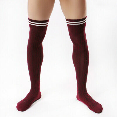 Men Sexy High Stockings Cotton Thigh Stocks Sport Striped Long Socks
