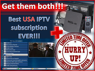 1 Year Best USA IPTV subscription + Android TV box + Mini keyboard INCLUDED!!!