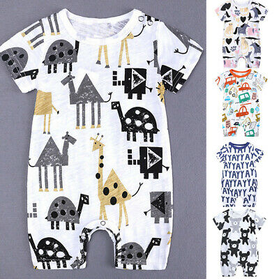 Toddler Kids Baby Boys Girls Summer Cartoon Print Romper Jumpsuit Outfit Clothes